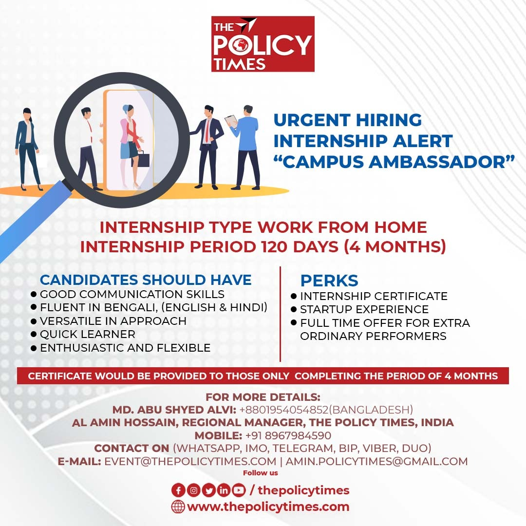 The Policy Times, India 'World's First Policy & Development  Media' is Recruiting 'Campus Ambassador'